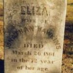 Eliza / Wife of / Jonathan Hawkins / Died / March 26, 1861, / in the 72 Year / of Her Age
