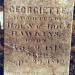 Georgiette / Daughter of / Wm. S. & Ann J. / Hawkins, / Born / Aug 9, 1848, / Died / Sept. 29, 1849 / Happy Soul Thy Days [?]